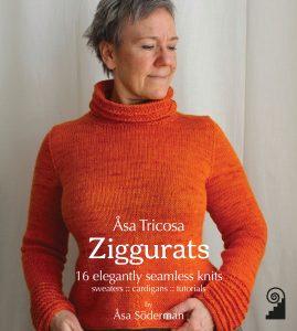 Framsidan på boken Ziggurats, Åsa står i en orange tröja med halvpolo